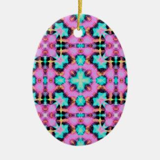 Pink Electric Shibori Patterned Ceramic Oval Ornament