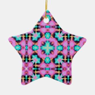 Pink Electric Shibori Patterned Ceramic Star Ornament