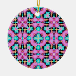 Pink Electric Shibori Patterned Round Ceramic Ornament