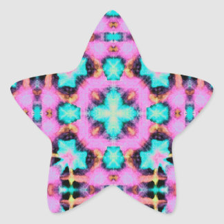 Pink Electric Shibori Patterned Star Sticker