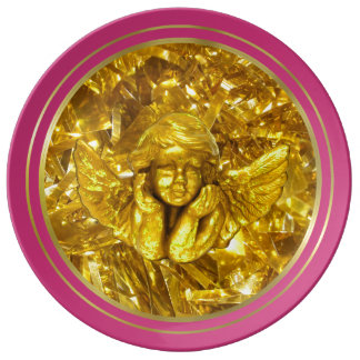 PINK ELEGANT CHRISTMAS PLATE, GOLDEN ANGEL PLATE