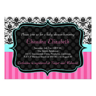 Pink Elegant Damask Baby Shower Invitation Custom Announcements
