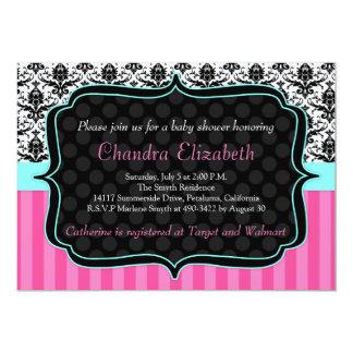 "Pink, Elegant, Damask Baby Shower Invitation 5"" X 7"" Invitation Card"