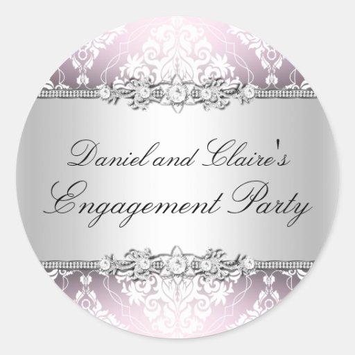 Pink Elegant Damask Engagement Party Sticker