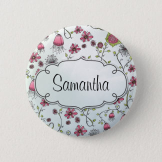 Pink Elegant flowers with frame for name 2 Inch Round Button