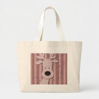 Pink elegant reindeer large tote bag
