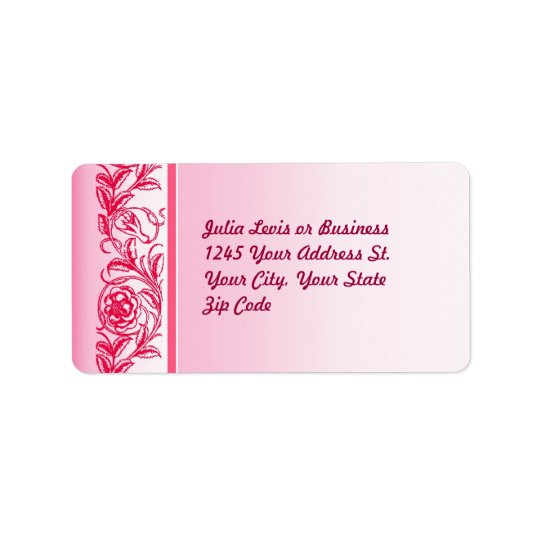 pink elegant roses ornament custom address labels