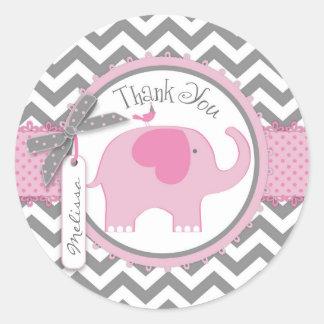 Pink Elephant and Chevron Print Thank You Round Sticker
