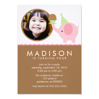Pink Elephant and Cupcake Birthday Announcements