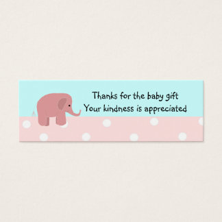 Pink Elephant Baby Gift Thank You Mini Business Card