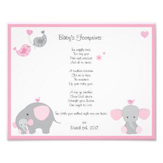 Pink Elephant Baby Girl Footprints Wall Art Print