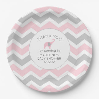 Pink Elephant baby shower decor Paper Plate