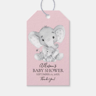 Pink Elephant Baby Shower Favor Gift Tag