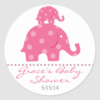 Pink Elephant Baby Shower Favor Stickers