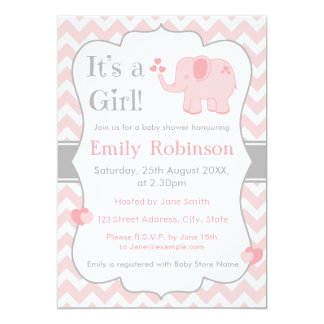 pink elephant baby shower invitation girl