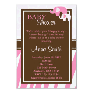 Pink Elephant Baby Shower Invitation Vertical