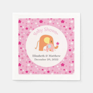 Pink Elephant Baby Shower Napkin Paper Napkin