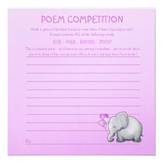 Pink Elephant Baby Shower Poem Competition Game Card