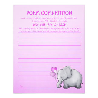 Pink Elephant Baby Shower Poem Competition Game Flyer