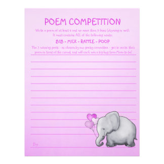 Pink Elephant Baby Shower Poem Competition Game Letterhead