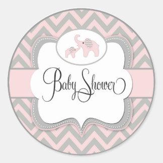 Pink Elephant Baby Shower Sticker