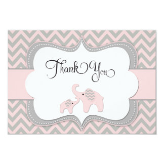 """Pink Elephant Baby Shower Thank You Card 3.5"""" X 5"""" Invitation Card"""