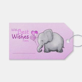Pink Elephant Baby Shower With Best Wishes Gift Gift Tags