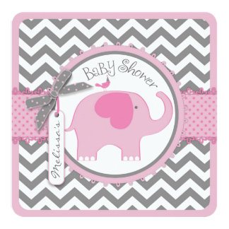 "Pink Elephant Bird and Chevron Print Baby Shower 5.25"" Square Invitation Card"
