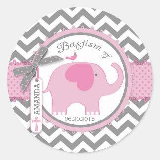 Pink Elephant Bird and Chevron Print Baptism Classic Round Sticker