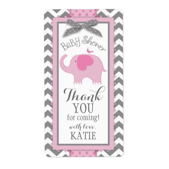 Pink Elephant Bird Chevron Girl Gift Label