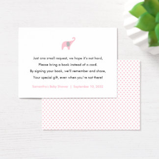 Pink Elephant Book request card / books for baby