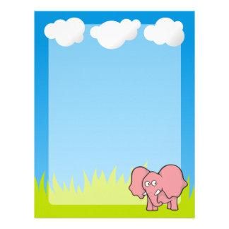 Pink elephant cartoon personalized letterhead