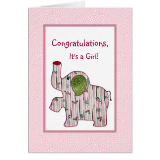 Pink Elephant Congratulations It's A Girl Card
