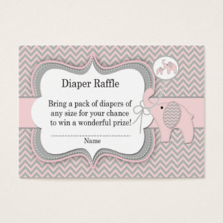 Pink Elephant Diaper Raffle Ticket