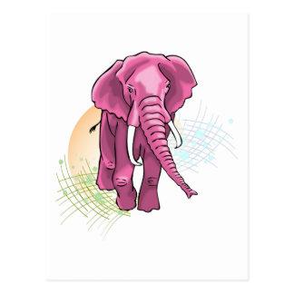 Pink Elephant draw - Sunset vector Postcard