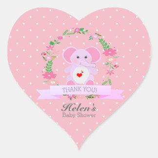 Pink Elephant florals Thank You Baby Shower Heart Heart Sticker