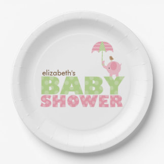 Pink Elephant Girl Baby Shower Paper Plate