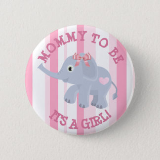 Pink Elephant Its a Girl Baby Shower Pin