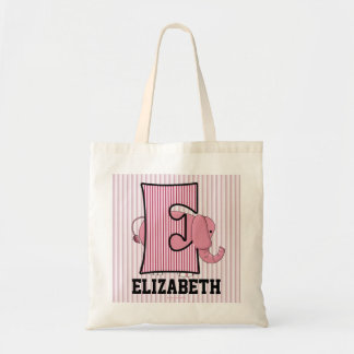 "Pink Elephant Kids Monogram ""E"" Tote Bag"