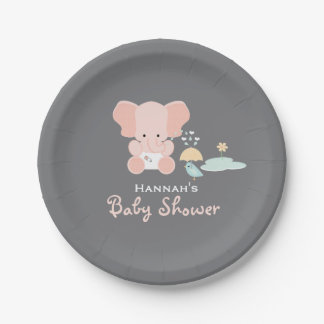 Pink Elephant Little Bird Baby Shower Paper Plate