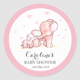 Pink Elephant Love Blue Baby Shower Sticker Classic Round Sticker