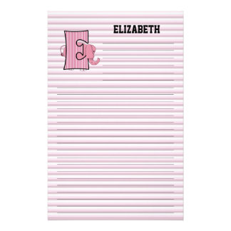 "Pink Elephant Mongrammed ""E"" Lined Stationery"