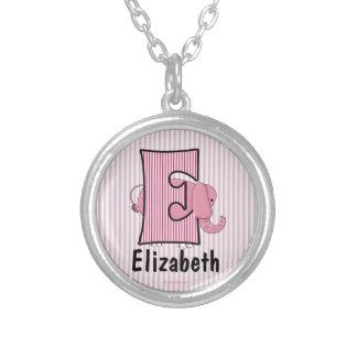 "Pink Elephant Monogram ""E"" Kid's Necklace"