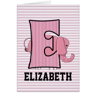 "Pink Elephant Monogram ""E"" Kid's Note Cards"
