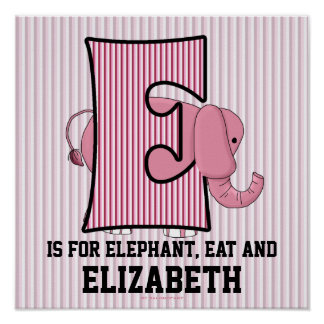 """Pink Elephant Monogrammed """"E"""" Baby Room Poster"""