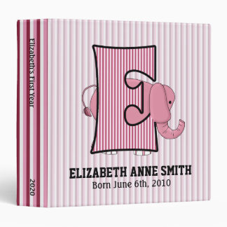 "Pink Elephant Monogrammed ""E"" Baby Scrapbook 3 Ring Binder"