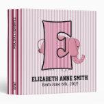 """Pink Elephant Monogrammed """"E"""" Baby Scrapbook Binders"""