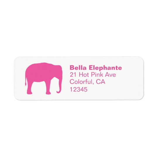 Pink Elephant Silhouette Return Address Labels
