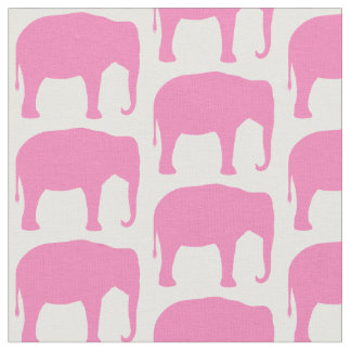 Pink Elephant Silhouettes Pattern Fabric