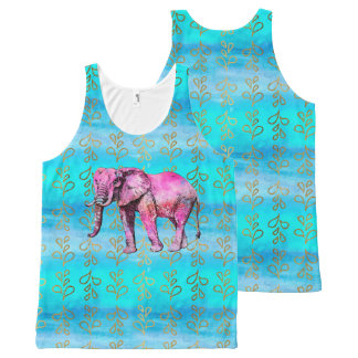 Pink Elephant Watercolor Abstract Trendy Modern All-Over-Print Tank Top